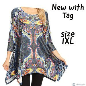 🌞$22ifbundle3 NWT Boho & animal print tunic 1XL